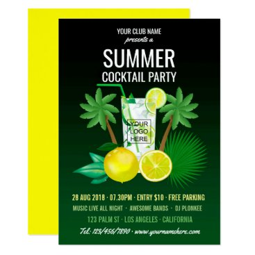 Beach Themed Summer Cocktails Club/Corporate Party add logo Card