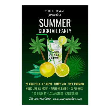 Beach Themed Summer Cocktails Club/Corporate Party Invitation Poster