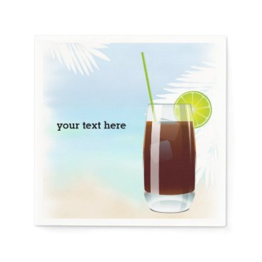 Beach Themed Summer Cocktails Paper Napkin