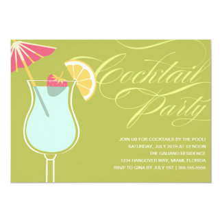 "SUMMER COCKTAILS | PARTY INVITATION 5"" X 7"" INVITATION CARD"