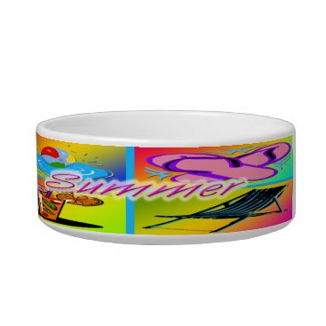 Beach Themed Summer Collage Cat Bowl Pet Bowl