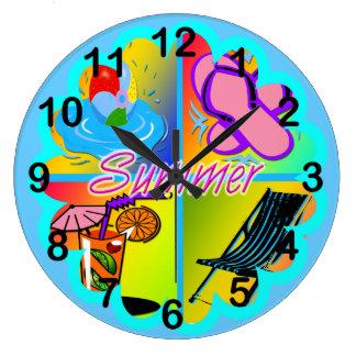 Summer Collage Round Wall Clock