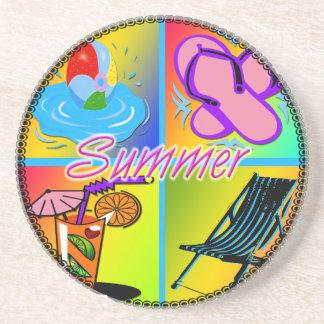 Summer Collage Sandstone Coaster