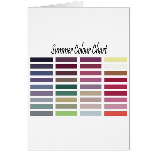 Summer Color Chart Card
