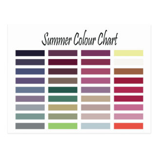 Summer Color Chart Post Cards