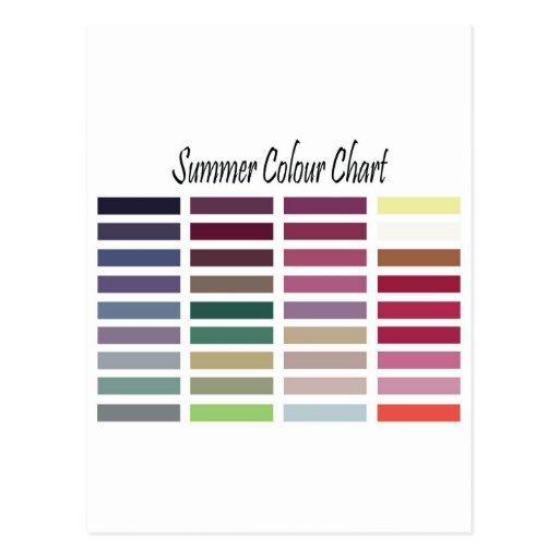 Summer Color Chart Postcard