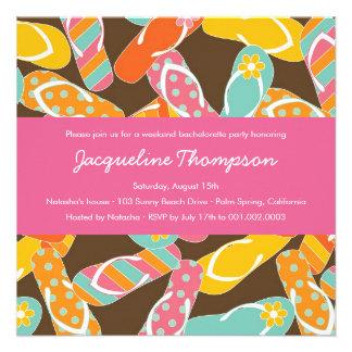 Summer Colorful Flip Flops Chic Bachelorette Party Invite