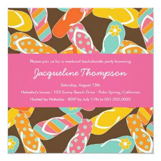 Summer Colorful Flip Flops Chic Bachelorette Party 5.25x5.25 Square Paper Invitation Card