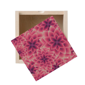 Summer colorful pattern purple dahlia wooden keepsake box