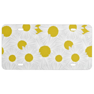 Summer colorful pattern purple marguerite license plate