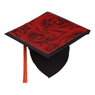 Summer colorful pattern rose graduation cap topper