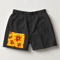 Summer colorful pattern yellow tickseed boxers