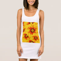 Summer colorful pattern yellow tickseed sleeveless dress
