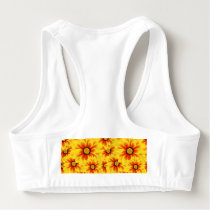 Summer colorful pattern yellow tickseed sports bra