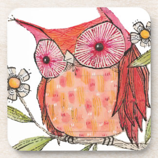 Summer colourful owl T shirt Beverage Coaster