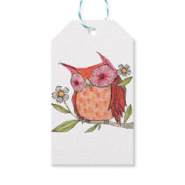Summer colourful owl T shirt Gift Tags