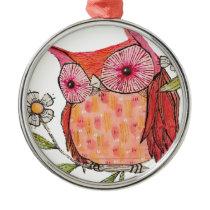 Summer colourful owl T shirt Metal Ornament