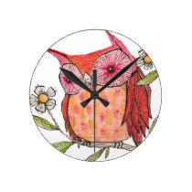 Summer colourful owl T shirt Round Clock