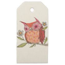 Summer colourful owl T shirt Wooden Gift Tags