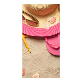 Summer Concept On Sandy Beach Background Card