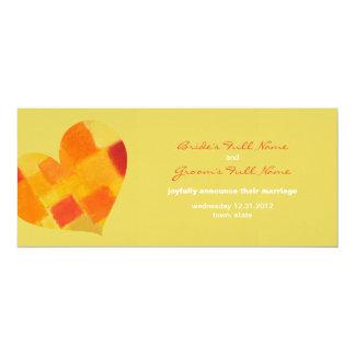 "Summer confetti Wedding Announcement 4"" X 9.25"" Invitation Card"