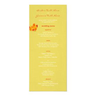 """Summer confetti Wedding Menu 4"""" X 9.25"""" Invitation Card"""