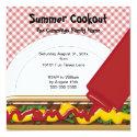 """Summer Cookout Invitation 5.25"""" Square Invitation Card"""