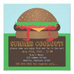 "Summer Cookout Party Invitation 5.25"" Square Invitation Card"