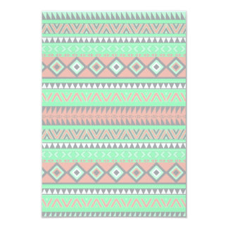 Summer Coral Teal Abstract Geometric Aztec Pattern Card