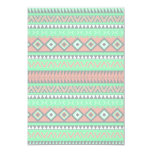 Summer Coral Teal Abstract Geometric Aztec Pattern Invites