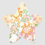Summer Cottage Flowers Pattern Star Sticker