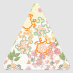 Summer Cottage Flowers Pattern Triangle Sticker