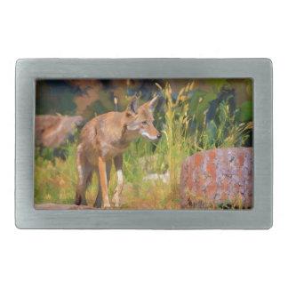 Summer Coyote Wildlife Painting Belt Buckle