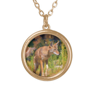 Summer Coyote Wildlife Painting Gold Plated Necklace