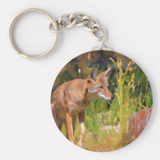 Summer Coyote Wildlife Painting Keychain