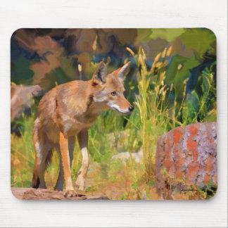 Summer Coyote Wildlife Painting Mouse Pad