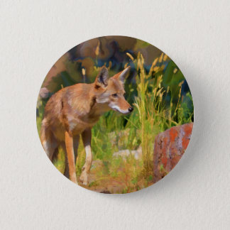 Summer Coyote Wildlife Painting Pinback Button