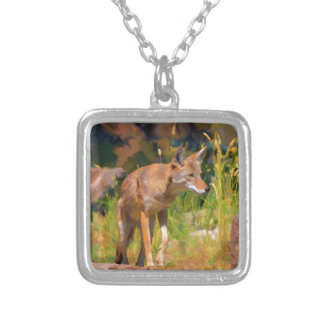 Summer Coyote Wildlife Painting Square Pendant Necklace