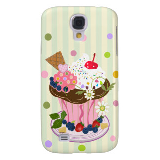 Summer Cupcake on Striped background Galaxy S4 Cases