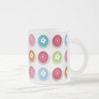 Summer Cute Daisy Flower Fuzzy Dots Colorful Fun 10 Oz Frosted Glass Coffee Mug