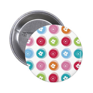 Summer Cute Daisy Flower Fuzzy Dots Colorful Fun Button