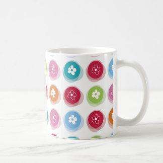 Summer Cute Daisy Flower Fuzzy Dots Colorful Fun Coffee Mug