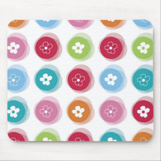 Summer Cute Daisy Flower Fuzzy Dots Colorful Fun Mouse Pad
