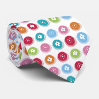 Summer Cute Daisy Flower Fuzzy Dots Colorful Fun Tie