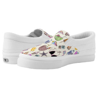 Summer Cute Girly Beach Collage on Yellow Slip-On Sneakers