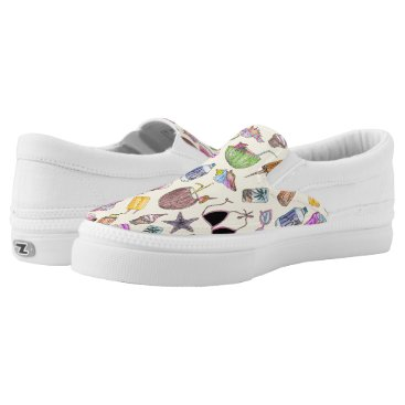 Beach Themed Summer Cute Girly Beach Collage on Yellow Slip-On Sneakers