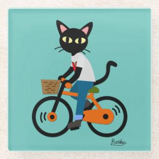 Summer cycling glass coaster