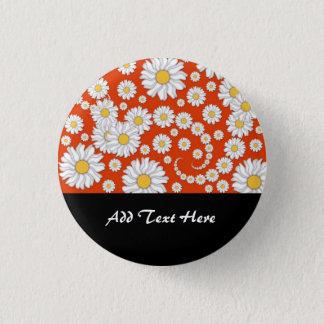 Summer Daisies on Bright Orange Button