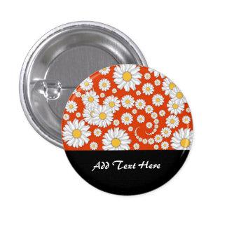 Summer Daisies on Bright Orange Buttons