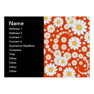 Summer Daisies on Bright Orange Large Business Card